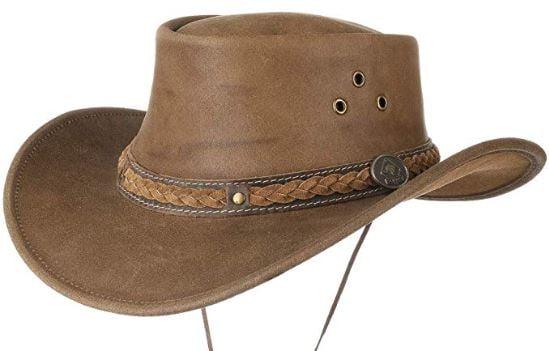 Brandslock Marcas de Bloqueo para Hombre Vintage Gran ala Vaquero Aussie Estilo Western Bush Hat con el cord/ón de Barbilla